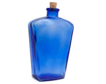 Vintage Blue Glass Bottle Cobalt Decanter Pebble Texture Corked CANADA 2 Inverted Trapezoid Shape Bud Vase Bath Salts Wedding