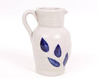 Vintage Williamsburg Pottery Cobalt Blue Stoneware Pitcher Salt Glaze Pottery Handled Jug Floral Motif Made in USA Creamer Vase