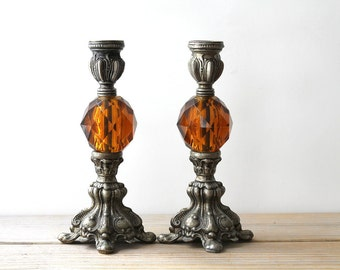 Art Nouveau style vintage lamp base pair / ornate regency French country style table decor / country manor style home decor / gypsy boho
