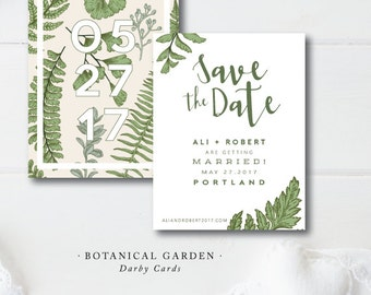 Botanical Garden Printed Save the Date   Double Sided Save the Date   Printed or Printable by Darby Cards
