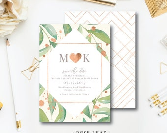 Rose Leaf Printed Design Suite | Wedding Save the Date or Bridal Shower Invitation | Printed Darby Cards Collective
