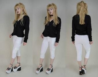 90s White Stretch High Waist Cargo Capri Trousers Pants XS