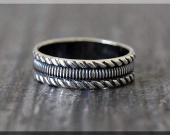 Wide Sterling Silver Ring, Sterling Silver Stacking Ring, Silver Twist Pattern Ring, Thick Silver Stacking Ring, Wide Sterling Silver Band