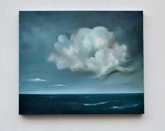 Original cloud painting, seascape painting, oil on canvas , home decor, storm clouds- Along came a cloud