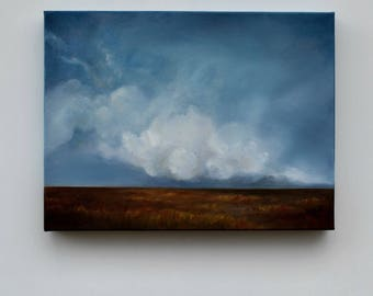 Landscape painting, big sky painting, original oil painting, cloud landscape painting - The Dry Season