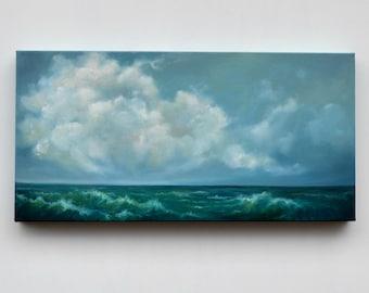 Seascape painting, cloud painting, original oil painting, ocean painting, original art - Learning how to swim