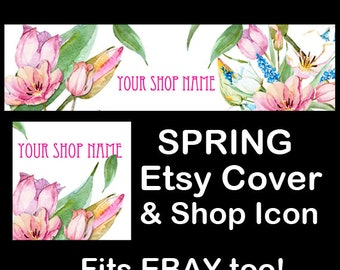 SPRING WATERCOLOR FLORAL Etsy Large Cover Banner Set/Premade Etsy Banner/Spring Shop Etsy Banner/Flower Etsy, Flowers Etsy Banner, Ebay