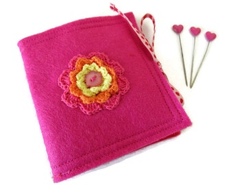 Pink Felt Needle Case - Felt Needle Case - Sewing Needle Case - Hand Sewing Needle Case - Needle Book - Pink Felt Needle Book