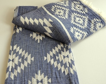 Turkish Towel Rug pattern Peshtemal towel Cotton Peshtemal in denim blue color soft