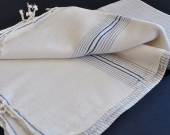 Vurla Bamboo Turkish beach towel light weight peshtemal towel for beach and bath in ivory with navy stripes