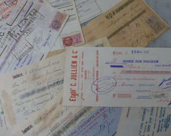 Checks,Antique French Papers, Large Cheques, Checks,   Circa 1920 / 1930's