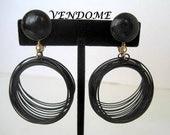 Vintage 1960's Black Vendome Dangle Midcentury Earrings