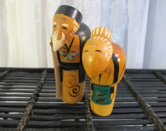 Vintage pair elderly couple Kokeshi dolls