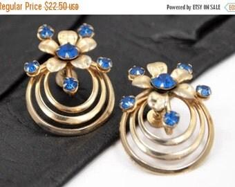 Victorian Revival, Blue Rhinestone Flower Earrings, Screw Backs, Modernist Vintage Jewelry, FALL SALE