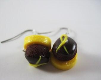 Yellow Awareness Ribbon Chocolate Cupcake Earrings Polymer Clay Jewelry