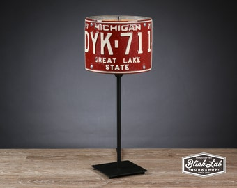 Michigan License Plate Table Lamp, Round, Man Cave, Garage, Repurposed, Upcycle, Automotive Lamp, Hand Crafted Light, Burgundy & White