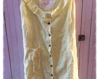 Linen Dress Jumper Womens Clothing Magnolia Pearl Like Lemon Yellow Sz Lrg Shabby Chic Spring Summer Lagenlook Mori Girl Bohemian Altered