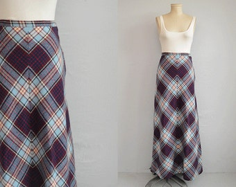 Vintage 1970s Bias Maxi Skirt / 70s Wool Plaid Maxi Chevron Skirt / Blue Red Holiday Plaid