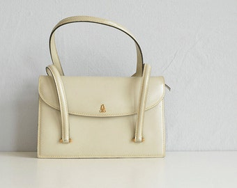 Vintage 60s Jacomo Leather Handbag / 1960s Bone Off White Leather Purse Bag / Made in France