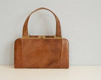 Vintage 60s Lizard Handbag / 1960s Caramel Brown Reptile Structured Hand Bag Purse