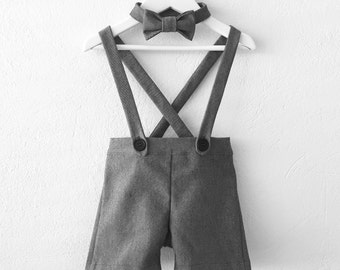 Ring bearer outfit baby boy suspender shorts grey shortalls photo prop special  occasion