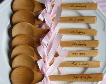 7 Engraved Small Wooden Spoons Birthday/Party/Wedding Favours