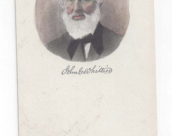 Poet John Greenleaf Whittier postcard signature udb