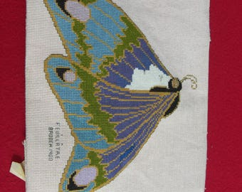 HAND STITCHED  Needlepoint Panel - Feuaillatre Brooch 1900. One Off item. (Ready to Ship).