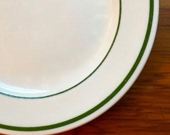 Dessert Plate, Vintage Double Green Stripe, Buffalo China ca. 1950s