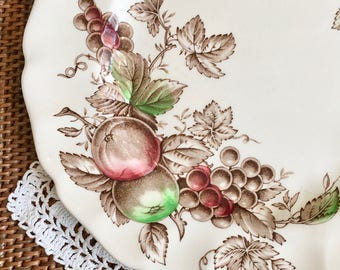 Johnson Brothers China, Harvest Time Dinner Plate, Hand Engraved with Fruit and Berries