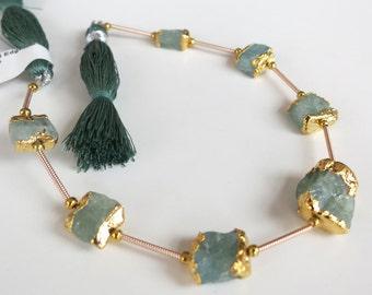 "Gold Leaf Dipped Edge Aquamarine Crystal Beads ~ 8"" Strand #2"