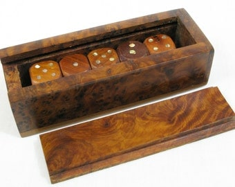 Burl Walnut Dice and Box, Burr Walnut Dice and Box, Wooden Dice, Dice with Mother of Pearl Spots, Unusual Set of Dice, Upmarket Dice (249)