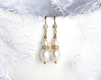 731_Ivory pearl earrings CZ, Dangle earrings white, Cubic zirconia earrings, Bridal earrings gold, Wedding pearl jewelry, Bridal accessories