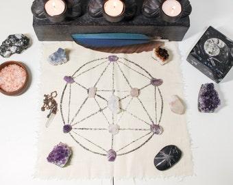 Pyramid Crystal Grid Cloth, Hand Painted Sacred Geometry Template, Meditation Altar Mat, Crystal Healing Grid,