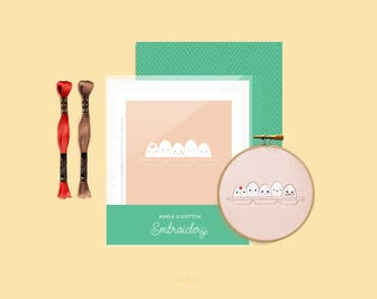 Happy Faces - Maple & Cotton Egg Face Embroidery Mini Collection