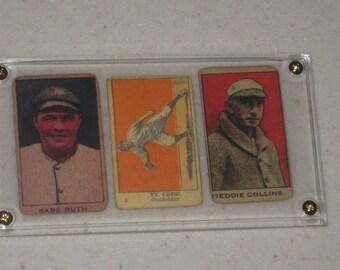 3 Card Lot 1920 W519-2 Strip Card Babe Ruth,1920 516-1 Ty Cobb Strip Card & Eddie Collins strip card in a screwdown case