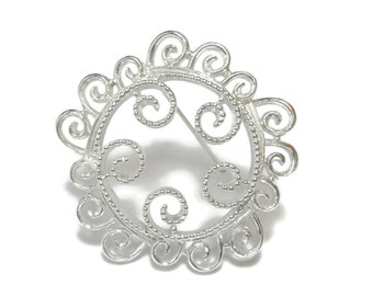 SALE Sarah Coventry brooch, 'Silvery Mist' from the 1970s, silver filigree brooch, open work