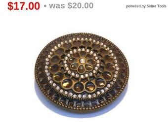 SALE Large round belt buckle, bronze ornate belt buckle, glass and rhinestone circles and teardrops, fancy western wear