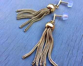 Victorian Gold Tassel Earrings 14k Gold Victorian Revival 1960s Dangle Earrings Vintage Fine Jewelry