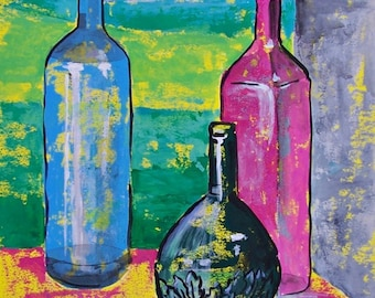"Original painting Mexican tequila bottles collection still life pastel colors acrylic on paper 19.5"" x 27.5"""