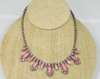 Pink Rhinestone Vintage Necklace