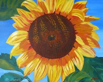 Sunflower flower painting, Original acrylic canvas art, Colorful sun flower wall art, 20x24 canvas painting by Janet Zeh Original Art