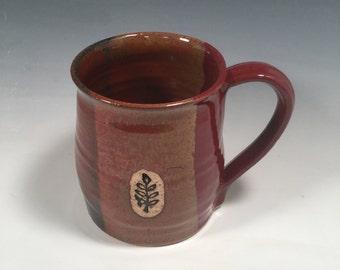 Mug -  handmade ceramic Coffee mug - 16 ounce - Ready to Ship - Red Jasper  - botanical vine Stamp  - ceramics - pottery - stoneware