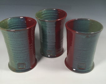 Ceramic Pint Cup-Handmade Ceramic Tumbler -Handmade pottery cup- 16 oz -Brick Red Jade Green - Ready to Ship- ceramics - pottery - stonewar