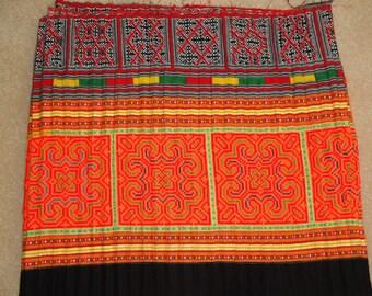 Vintage Hmong Textile - Hmong Fabric - DIY Project - Hill Tribe - Tribal Textile - Hmong Skirt - Bohemian - Cross Stitches - Floral Applique