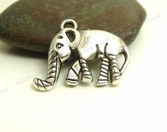 8 Elephant Charms ( Double Sided ) - Antique Silver Tone Metal - 20x16mm - Elephant Pendants - BC30