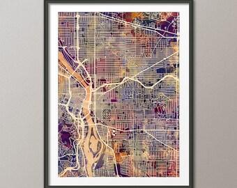 Portland Map, Portland Oregon City Map, Art Print (2737)