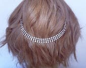 Vintage rhinestone wedding headpiece, Bridal accessory hair chain, Bridal hair jewelry, Boho Bridal headpiece for back of the head,