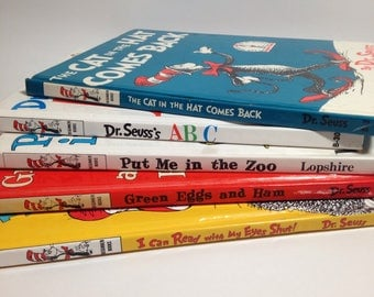Dr. Suess Set of 5 books: Dr. Suess ABC, Put me in the zoo, Green Eggs & Ham, I can read w my eyes shut, the cat in the hat comes back