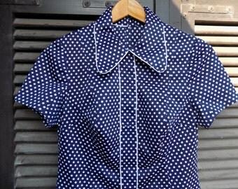 Dot Me to Death - Handmade VNTG Blue Polka dot Dress